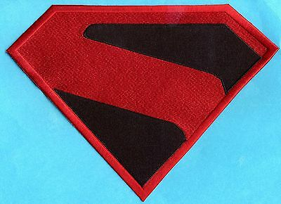 "7.8"" x 11.7"" XL Red & Black Fully Embroidered Superman Kingdom Come Chest Patch"