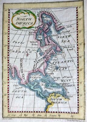 NORTH AMERICA  MINIATURE ENGRAVED MAP BY TERRY / TURNER GENUINE ANTIQUE  c1792