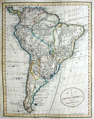 SOUTH AMERICA  BY JOHN CARY c1784  GENUINE ANTIQUE ENGRAVED MAP
