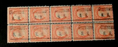 Precancels - Claremont, NH type 406 on a block of 10 of S# 509