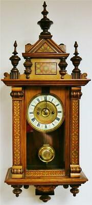 Sublime Antique 2 Train Mahogany Inlaid 8 Day Musical Vienna Wall Clock
