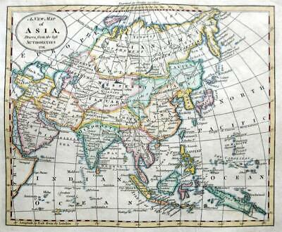 ASIA  BY JOHN RUSSELL  c1791  GENUINE ANTIQUE ENGRAVED MAP