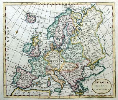 EUROPE  BY THOMAS KITCHIN c 1792 GENUINE ANTIQUE ENGRAVED MAP