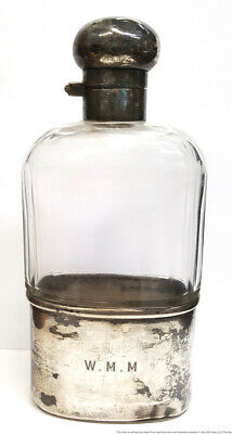 Vintage Art Deco English Sterling Silver Cut Glass Liquor Flask Pull Off Cup