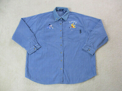 VINTAGE Disney Winnie The Pooh Button Up Shirt Womens Extra Large Blue Ladies