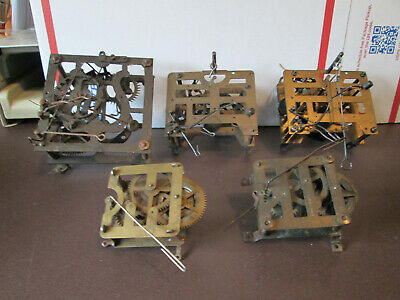 5 Vintage German Cuckoo Clock Movements parts/projects (518F)