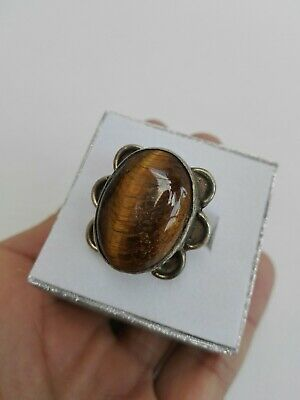 Vintage Afghan Ring Stone Tiger Eye Size 8.75 Kuchi Handmade Jewelry Etched Old