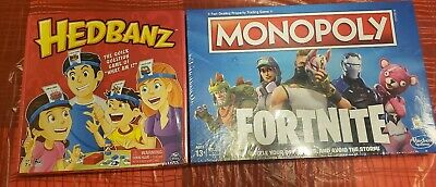Brand New Sealed Monopoly Fortnite Edition And HedBanz Games