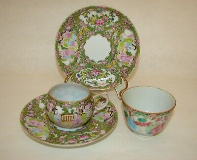 Lot of 4 Chinese Export Famille Rose Porcelain Qing Dynasty Saucers Cups