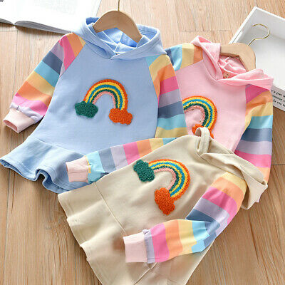 Toddler Baby Kids Girls Rainbow Striped Hooded Princess Dress Casual Clothes Hot