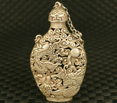 China tibet silver dragon statue hollow snuff bottle home decoration gift