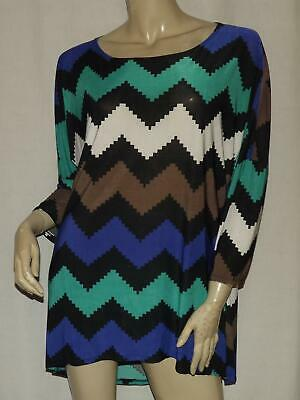 Womens High Low Shirt Size Large MOA Black Green Blue Pullover Tunic