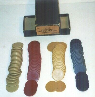 Lot of 100 Vintage Bakelite Catalin Poker Chips with Box 4 Colors