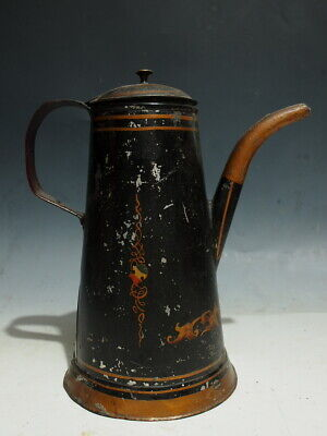 Antique Early 19Th Century Painted Tinware Toleware Coffee Pot