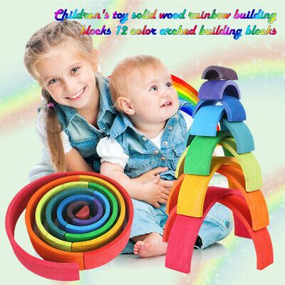12pcs Wooden Rainbow Building Stacking Blocks Baby Toddler Montessori Toys Gifts