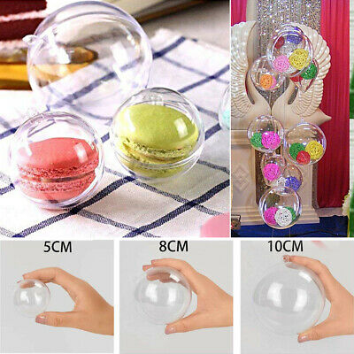 40PCS Clear Plastic Fillable Christmas Tree Ball Ornament Craft Sphere Baubles