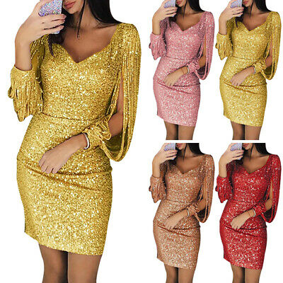 Women Dress Ladies Cocktail Sexy Dress Party Bodycon Long Sleeves Shiny