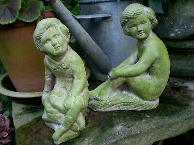 1950s Two Vintage French  Children Garden Statues, architectural Reclamation