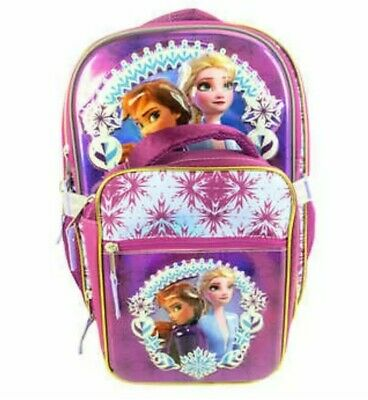 Disney Frozen 2 Licensed Backpack with Lunch Bag For Girl's Kids Purple
