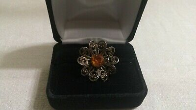 Vintage Brasstone Metal Filigree Amber Crystal Flower Ring Size 7 ADJ