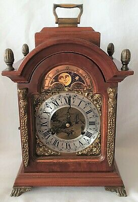Hermle Mantel Clock Shelf Moon Dial 8 Day Wind Up Vintage 1975 Double Bells