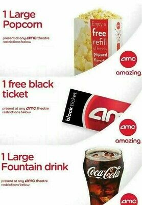 1 AMC Black Ticket, 1 Large Drink, and 1 Large Popcorn - INSTANT DELIVERY