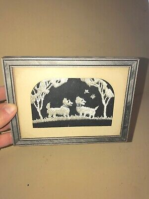 Vintage  Framed Crochet Two White SCOTTIE DOGS Black &White Miniature Portrait