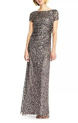 Adrianna Papell Womens Gray Sequined Dress Gown Dress Size 10