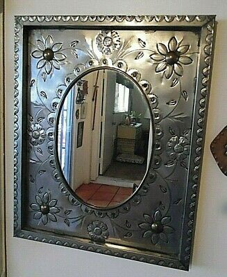 Awesome Punched Tin Wall Hung Mirror Made In Mexico