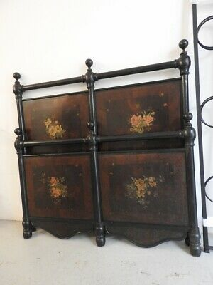 From Piedmont Campaigns Antique Bed Iron Lacquer Black Painting Period Liberty