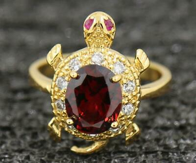 Amazing 3.62ct Natural Garnet 14KT Solid Yellow Gold Wedding Band Ring Size 7#