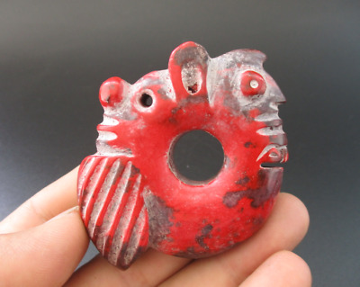 Old Chinese HongShan culture jade stone carved Dragon&cicada amulet pendant Y57