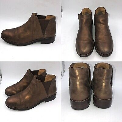 Clarks Size 5 Bronze Brown Leather Chelsea Ankle Boots Womens Girls