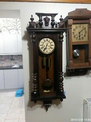 Antique German Twin Weight 8 Day Striking Carved Deep Mahogany Vienna Wall Clock