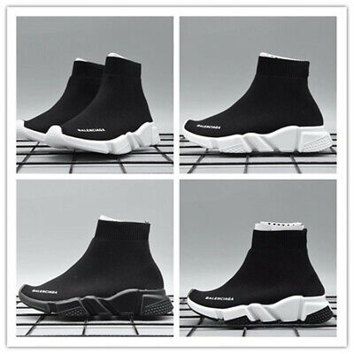 Kids Fashion Boys Girls Designer Style Knit Speed Sock Runner Trainers Sneakers