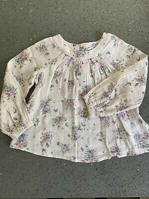 Girls Pale Pink Flowers Long Sleeve Blouse Top By Next Size 2-3 Years