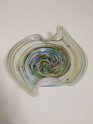 Murano Vintage 50's Multi-color Art Glass Hand Blown Dish Bowl gold flakes.NICE!