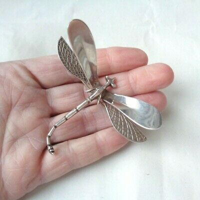 Vintage Mexico Sterling Silver 925 Large 3-D Dragonfly Pin