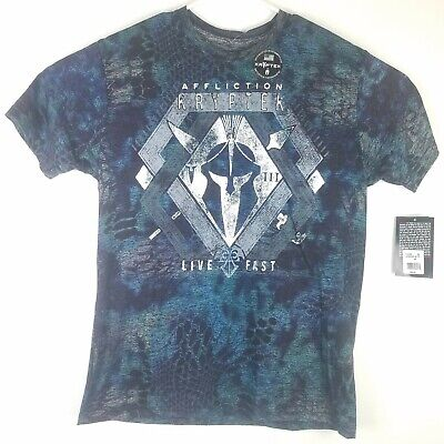 Affliction Mens XXL Kryptek Leonidas Graphic T Shirt Spartan Helmet Blue Live