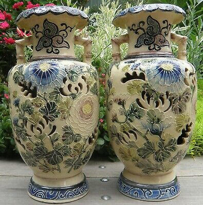 Superb  Pair late 19th Century Japanese Pottery Vases - Hand Thrown