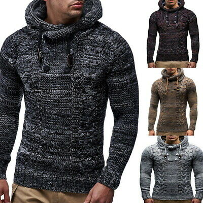 Men Warm Knitted Hooded Long Sleeve Jumper Pullover Sweater Slim Fit Winter Coat