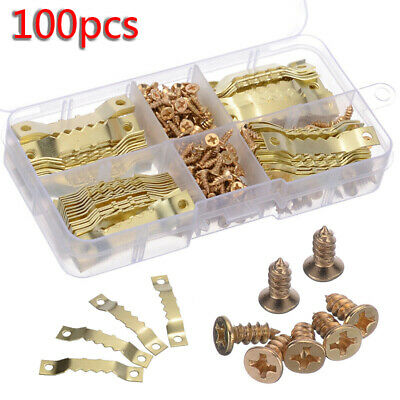 100x Gold Picture Photo Frame Hooks Hardware Saw Tooth Hangers 45x8mm + Screws