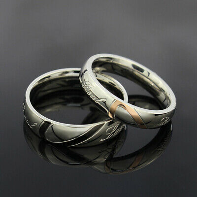 """Ring Couples Stainless Steel """" Real Love """" Heart Promise Engagement Wedding Band"""