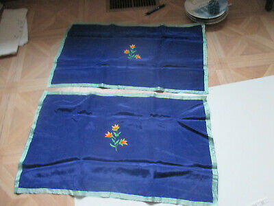 Vintage Silky table runner Navy pair embroidered with Orange & green flowers