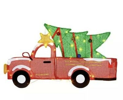Holiday Light-Up Christmas Tree Truck W Tree Lighted Outdoor LawnDecoration