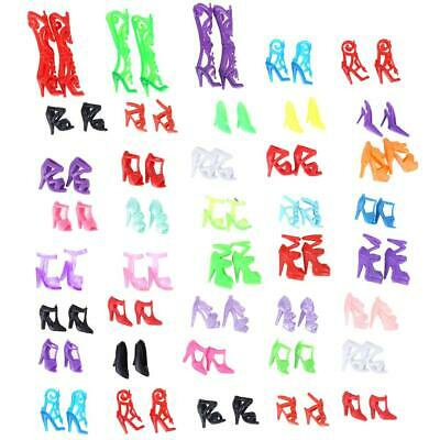 40 Pairs Doll Shoes Fashion Cute Colorful Assorted Shoes for Barbie Doll Gift US