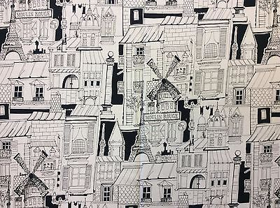 Alexander Henry Black /& White 8555A White Moulin Rouge Cotton Fabric BTY
