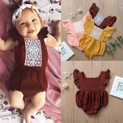 Newborn Infant Baby Girls Ruffle Solid Backless Romper Bodysuit Lace Outfits US