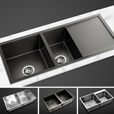 Cefito Kitchen Sink Laundry Sinks Stainless Steel Under/Topmount Double Bowls