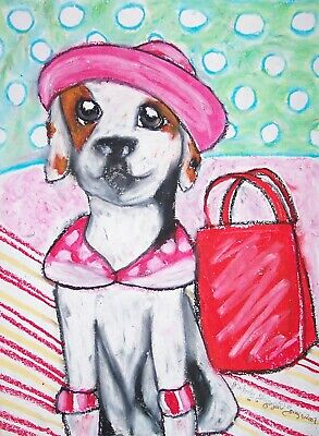 Jack Russell jester violin painting dog art  13x19  GLOSSY PRINT